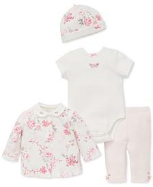 Little Me Baby Girls 4-Pc. Printed Cardigan, Body Suit, Pants & Hat Set