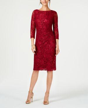 Jessica Howard Petite Lace Sheath Dress - Wine