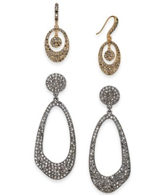 I.N.C. Day & Night Two-Tone 2-Pc. Set Coordinated Crystal Pavé Drop Earrings, Created for Macy's