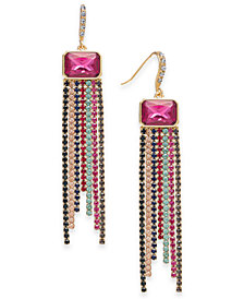 I.N.C. Gold-Tone Multicolor Crystal Fringe Drop Earrings, Created for Macy's