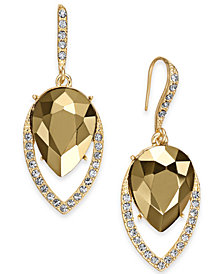 I.N.C. Gold-Tone Stone & Pavé Drop Earrings, Created for Macy's
