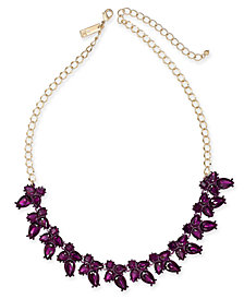 "I.N.C. Gold-Tone Crystal Flower Necklace, 18"" + 3"" extender, Created for Macy's"