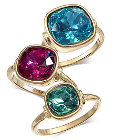 I.N.C. Gold-Tone 3-Pc. Set Stone Statement Rings, Created for Macy's