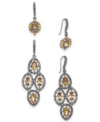 I.N.C. Day & Night Hematite-Tone 2-Pc. Box Set Vintage-Inspired Drop Earrings, Created for Macy's