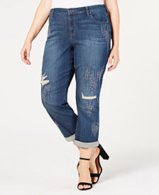 Style & Co Plus Size Embellished Distressed Boyfriend-Fit Jeans, Created for Macy's