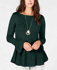 Style & Co Ruffle-Trimmed Pullover Sweater, Created for Macy's