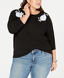 Style & Co Plus Size Embroidered Sweatshirt, Created for Macy's