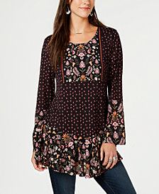 Style & Co Mixed-Print Peasant Tunic, Created for Macy's