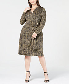 Calvin Klein Plus Size Metallic Faux-Wrap Dress