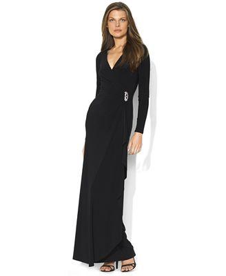 Lauren Ralph Lauren Long-Sleeve Embellished Gown