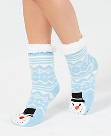 Charter Club Women's Snowman Slipper Socks, Created for Macy's