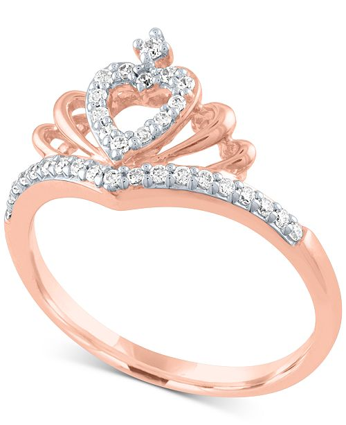 Macy's Diamond Heart Crown Ring (1/5 ct. t.w.) in 10k Rose Gold
