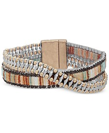 Two-Tone & Fabric Crystal Double-Row Wrap Bracelet