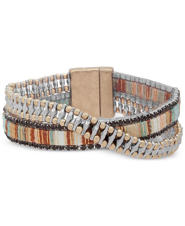 lonna & lilly - Two-Tone & Fabric Crystal Double-Row Wrap Bracelet