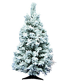 "36"" Flocked Alaskan Pine Artificial Christmas Tree Unlit"