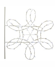 4 ½' Double Spiral Snowflake Commercial Pole Decoration With 66 LED Lights.