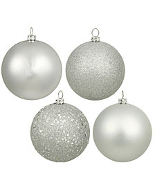 "4"" Silver 4-Finish Ball Christmas Ornament, 12 per Box"