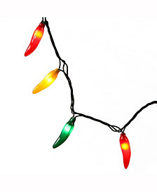 35 Red-Green-Yellow Mini Light Chili Pepper Set on Green Wire
