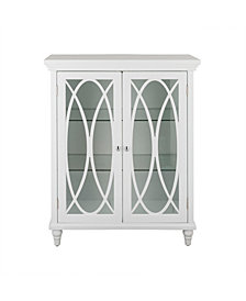 """32"""" H Florence Double Door Floor Cabinet with 2 adjustable tempered glass shelves"""
