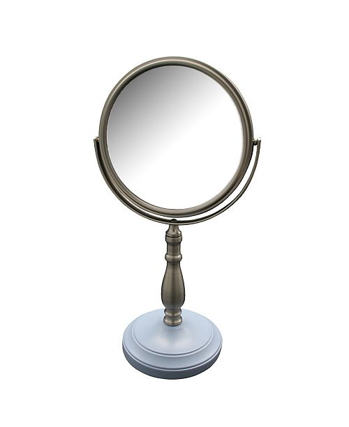 Elegant Home Fashions Briggs Freestanding Bath Magnifying Makeup Mirror with Frost Blue base and Nana Pedestal