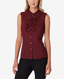 Tahari ASL Ruffled Button-Front Shell