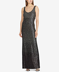 Lauren Ralph Lauren Sequin Sleeveless Gown