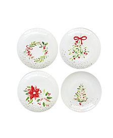American Atelier Mistletoe Memories Appetizer/Dessert Plates, Set of 4, Created for Macy's