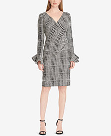Lauren Ralph Lauren Petite Plaid Ruched Dress, Created for Macy's
