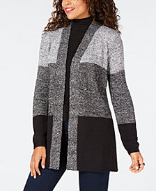 Karen Scott Colorblocked Open-Front Cardigan, Created for Macy's