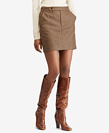 Polo Ralph Lauren Houndstooth Tweed Mini Skirt