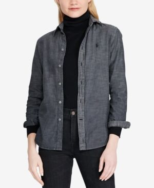 Slim Fit Chambray Cotton Shirt in Black