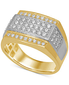 Men's Diamond Panel Ring (1 ct. t.w.) in Two-Tone 10k Gold