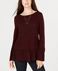 BCX Juniors' Necklace-Embellished Peplum Top