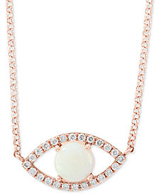 "EFFY® Opal (1/2 ct. t.w.) & Diamond (1/6 ct. t.w.) Evil Eye 18"" Pendant Necklace in 14k Rose Gold"