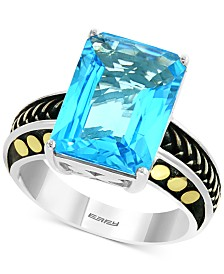 EFFY® Blue Topaz Statement Ring (6-5/8 ct. t.w.) in Sterling Silver & 18k Gold
