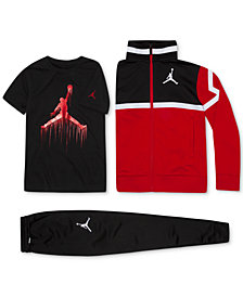 Jordan Big Boys Diamond Tricot Jacket, Jumpman-Print T-Shirt & Pants