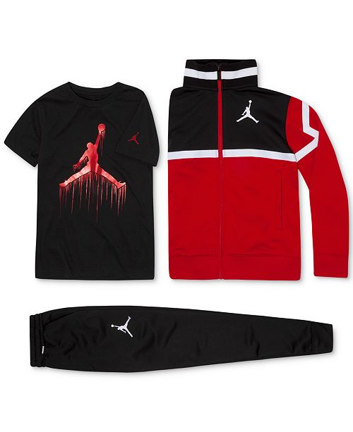 pretty nice 27243 b88b9 Jordan Big Boys Diamond Tricot Jacket, Jumpman-Print T-Shirt   Pants