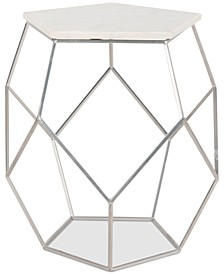 Modern Pentagon Marble Top Side Table