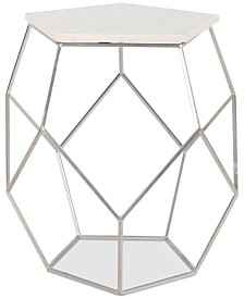 Modern Pentagon Marble Top Side Table, Quick Ship