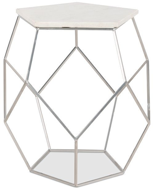 Furniture Modern Pentagon Marble Top Side Table, Quick Ship