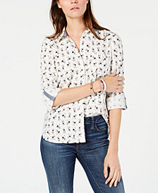 Tommy Hilfiger Printed Button-Front Shirt, Created for Macy's