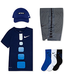 Nike Little Boys Cap, Gradient-Print T-Shirt, Shorts & Socks