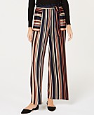 Monteau Petite Striped Belted Pants