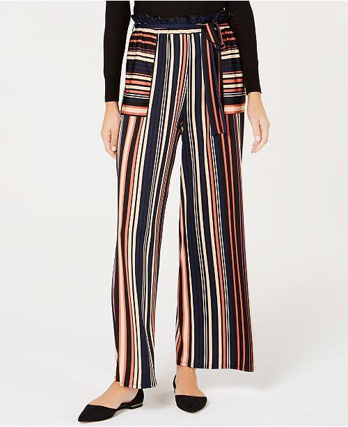 e30257b4b65 Monteau Petite Striped Belted Pants - Pants - Petites - Macy s