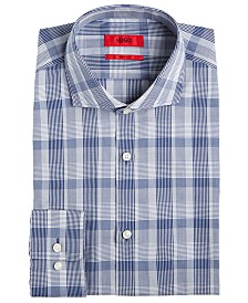 HUGO Men's Slim-Fit Navy Plaid Dress Shirt