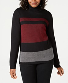 Karen Scott Colorblocked Cotton Turtleneck Sweater, Created for Macy's