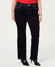 I.N.C. Plus Size Bootcut Topstitched Jeans, Created for Macy's