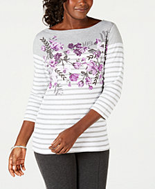 Karen Scott Mixed-Print Studded Top, Created for Macy's