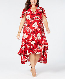 I.N.C. Plus Size Flutter-Sleeve Maxi Dress, Created for Macy's