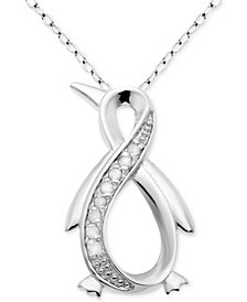 "Diamond Infinity Penguin 18"" Pendant Necklace (1/10 ct. t.w.) in Sterling Silver"